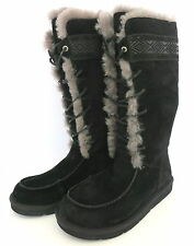 WOMENS BLACK UGG TULAROSA SUEDE LEATHER BOOTS W/ SHEEPSKIN LINING SIZE 8 NEW
