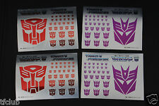Transformers G1 Aotobot Decepticon Insignia Symbol Mirror Sticker Decal Sheet