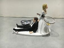 Fish Fishing Humor Funny Bride Groom Wedding Cake Topper Miller Beer Pole Net