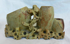 Antique Hand Carved Chinese Soapstone Ink Pot and Brush Stand c 1900