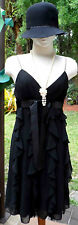 Sexy New Black Tiered 20s Gatsby Look Ruffled Dress w/Pearls, Cloche Hat sz 10