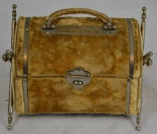 jewelry box Civil War Era 1850 casket style gold plush velvet antique original