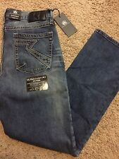 NWT $88 ROCK & REPUBLIC STRAIGHT FIT HIT MAN JEANS BLUE WASH 36X30