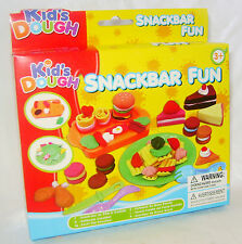 NEW SNACK BAR FUN DOUGH SET WITH 3 COLOURS PLAY CLAY PLUS TOOLS FOOD TY4837