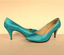 Vintage 80s Funky Turquoise Shiny Satin Stiletto Heel Pumps Shoes 8 Women Heels