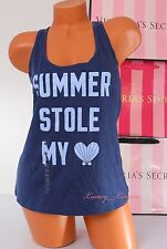 NWT Victoria's Secret Top VS Tank Cotton blend Wide Straps Light Print M Blue