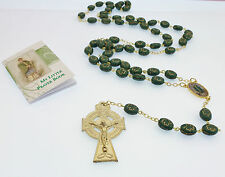 Glass green Irish gold Shamrock St. Patrick rosary beads Catholic + Prayer book