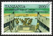 D-Day US Soldiers Landing Omaha Beach & LCVP Landing Craft Vehicle WWII Stamp