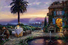 """Art Oil painting villa in beautiful sunset landscape with Small fountain 36"""""""