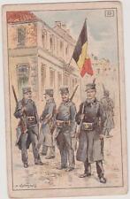 ANCIENNE IMAGE EDUCATIVE F.NATHAN-Gardes Civiques Belges-Drapeau-Illust.Kauffman
