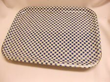 6 vintage shabby cottage metal blue & white checked serving tv trays patio tray
