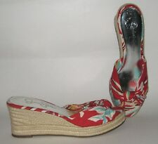 Jessica Simpson Daria Red Floral Hawaiian Wedge Open Toe Espadrille Sandals 7.5