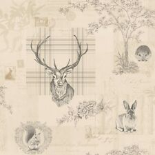 Richmond Charcoal And Linen Neutral Rustic Tartan Stag Feature Wallpaper By H...