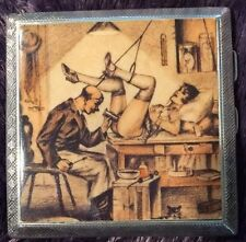 Art Deco Erotic Nude Pictorial Sterling Silver Cigarette Case Risqué 1924 *RARE*