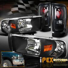 94-01 Dodge Ram 1500 2500 3500 Black Headlights W/ Signal+Dark Smoke Tail Lights