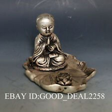 Exquisite China Silver Copper Hand-carved Buddha Statue w  Lotus gd6496