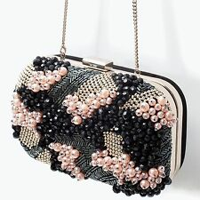 ZARA Woman BNWT Authentic Black Leather Beaded Evening Clutch Bag Purse 8614/304