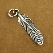 925 Sterling Silver Retro Punk Feather Biker Men Women Charm Pendant A2407