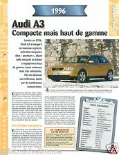 Audi A3 1.8 20V 4 Cyl. 1996 Germany Allemagne Car Auto Voiture FICHE FRANCE