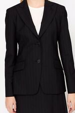LADIES BLACK PINSTRIPE WOOL BLEND  SKIRT SUIT .BLAZER  UK 16 EU 44 US12