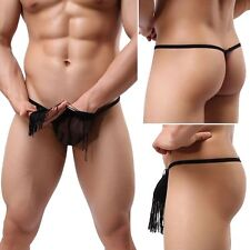 New Men's Sexy thongs see Through underwear sexy lingerie Tassels Briefs thong