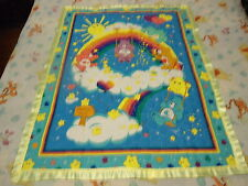 CARE BEAR RAINBOW QUILT BABY 36 X 44 YELLOW SATIN BINDING