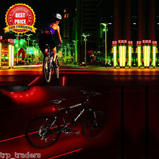 2 Laser+ 5 LED Rear Bike Cycling Bicycle Tail Safety Warning Flashing Lamp Light