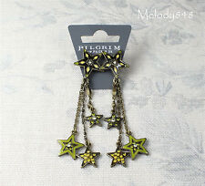 Vintage Danish PILGRIM Earrings STAR Charms Gold Green Swarovski Enamel BNWT