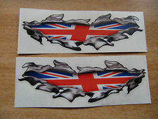 "Torn / Ripped Paintwork ""Union Jack"" Flag stickers - 400mm decal pair LARGE"