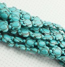 16'' Lots 25Pcs Turquoise Howlite Carved Turtle Spacer Beads Findings 17x14mm