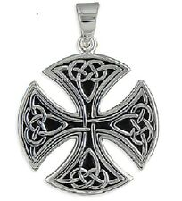 MEN'S QUALITY LARGE ROUND CELTIC CROSS PENDANT - 925 STERLING SILVER