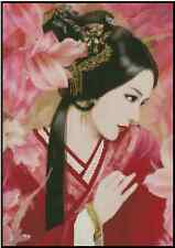 Counted Cross Stitch ORIENTAL LADY with Pink Flowers - COMPLETE KIT #25-116