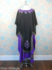 Vintage 1980s Ladies Long Black & Purple Silky Kaftan Dress Boho One Size