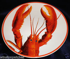 "WILLIAMS SONOMA HOME PORTUGAL SEAFOOD BOIL LOBSTER SALAD PLATE 8 7/8"" RED TRIM"