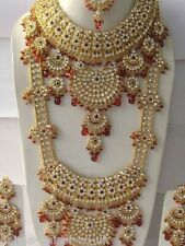 INDIAN BRIDAL SET 8 PIECE GOLD PLATED ALLOY JEWELLERY SET RED CLEAR NEW AQ-125