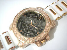 Iced Out Bling Bling Big Case Rubber Band Men's Watch Rose / White Item 1238
