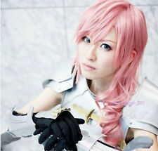 Final Fantasy 13 Lightning  Long Milkshake Pink Cosplay Hair Wig