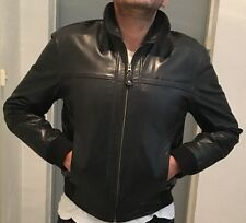 "BLACK REDSKINS BUFFALO LEATHER JACKET  L SIZE :         "" ONE SIZE SMALLER FIT """