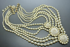Vintage Miriam Haskell baroque faux pearl glasses beads necklace