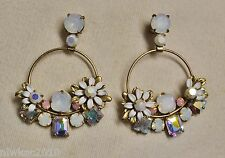 J CREW FLOWER STONE EARRINGS WHITE E3522