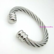 Men Women's Stainless Steel Twisted Cable Wire Bracelet Bangle Fashion Jewelry