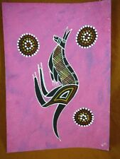 AUS-12 Kangaroo dark pink Australian Native Aboriginal PAINTING Artwork T Morgan
