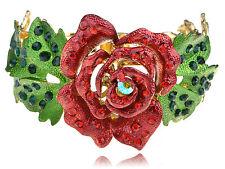 Ruby Green Crystal Rhines Statement Rose Flower Leaf Chic Bracelet Hot New