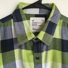 Men's American Eagle Outfitters L/S Flannel Shirt Lime-Blue-Gray/Plaid L Hipster