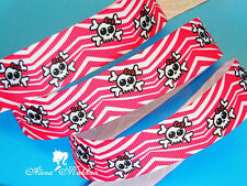 "5 yards 7/8"" Skull Pink Zebra Printed Grosgrain Ribbon"