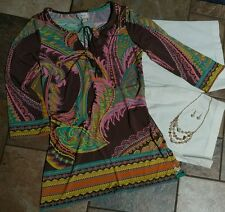 Women's clothing lot outfit sz 6 BCBGMAXAZRIA shorts, small blouse, jewelry, 4pc