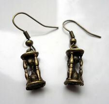 Unusual Hour Glass Antique Bronze Ornate Charm Earrings Sand Timer