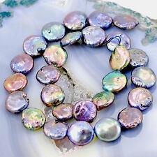 """14mm Tahitian Gray Natural Freshwater Pearl Coin Beads 15"""" for DIY  (PE247)b"""