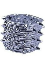7 Layer Silver Acrylic chunky Pyramids Spike Punk Elastic bracelet Bangle