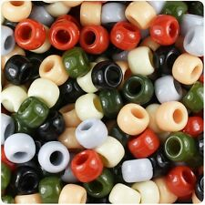 500 Natural Mix Opaque 9x6mm Barrel Pony Beads Made in the USA